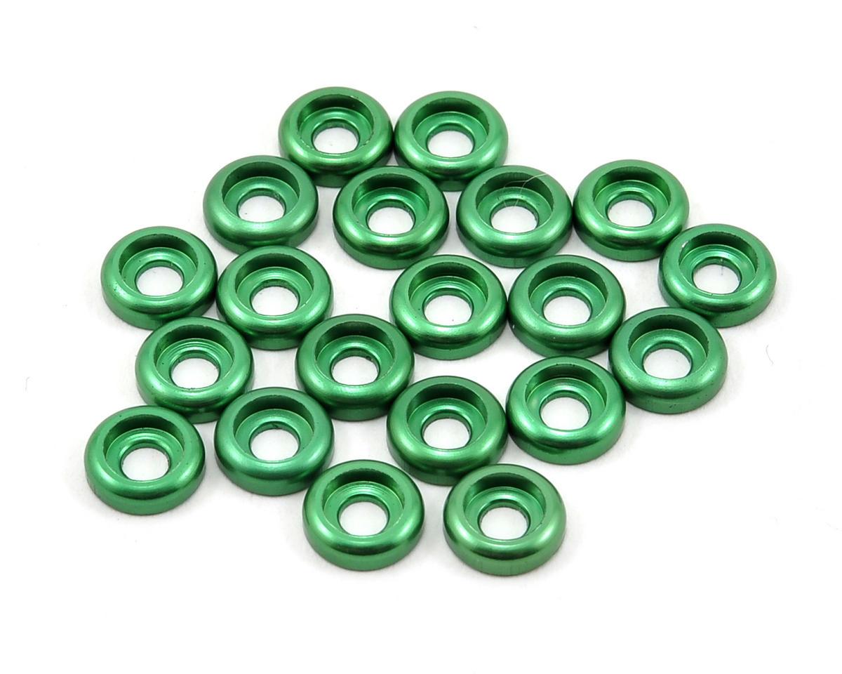 Lynx Heli T-REX 450 2.5mm Aluminum Countersunk Washer Set (Green) (20)
