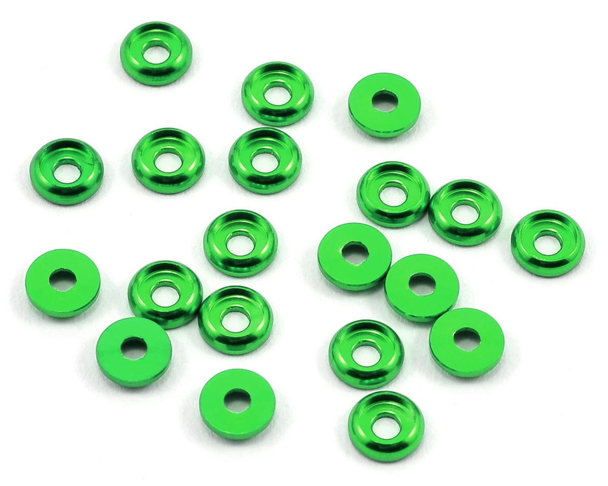 Lynx Heli T-REX 450 2.0mm Aluminum Countersunk Washer (Green) (20) (Align T-Rex 450XL)