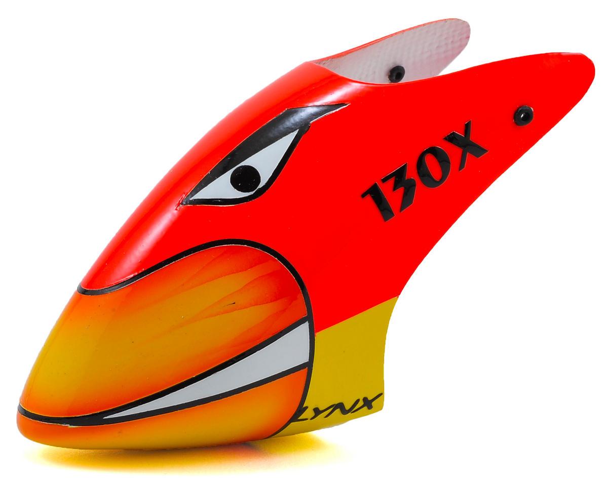 Lynx Heli Blade 130 X Protos Style Fiberglass Canopy (Scheme 04 - Red/Yellow)