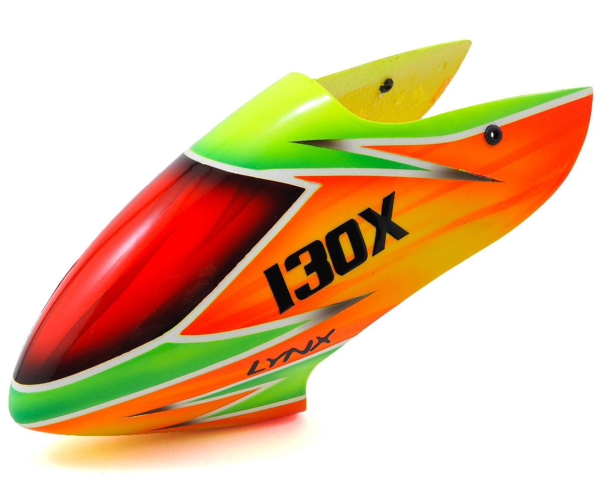 Lynx Heli Blade 130 X T-Rex Style Fiberglass Canopy (Scheme 01 - Orange/Green)