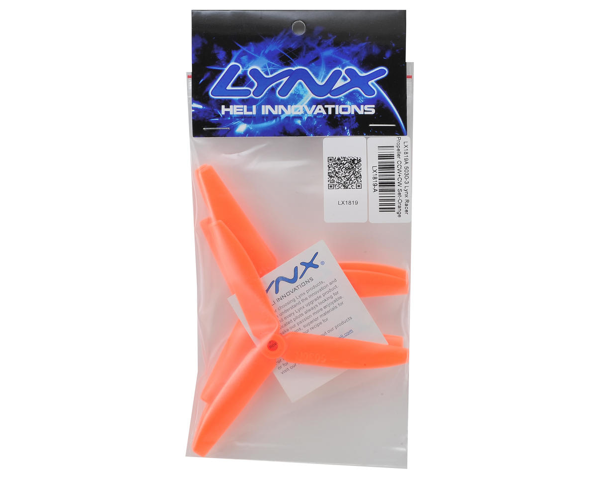 Lynx Heli Tri-Blade 5x3x3 Racer Propeller Set (Orange) (4)