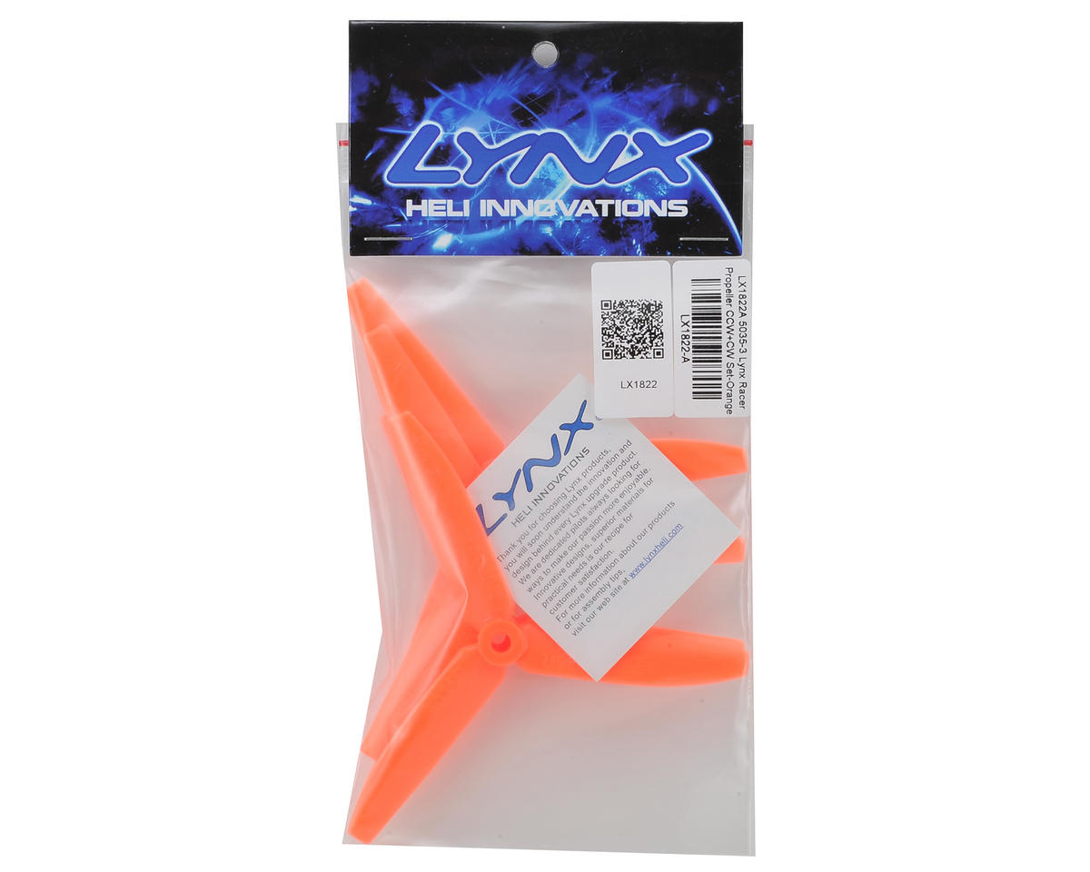 Lynx Heli Tri-Blade 5x3.5x3 Racer Propeller Set (Orange) (4)