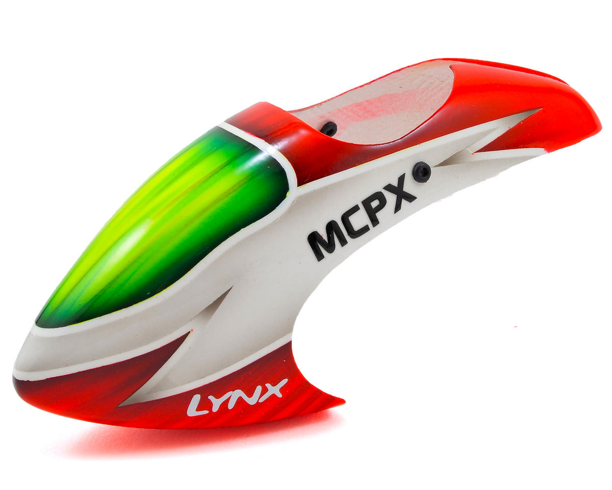 Lynx Heli Blade mCP X BL Logo Style Fiberglass Canopy (Scheme 03 - White/Red)