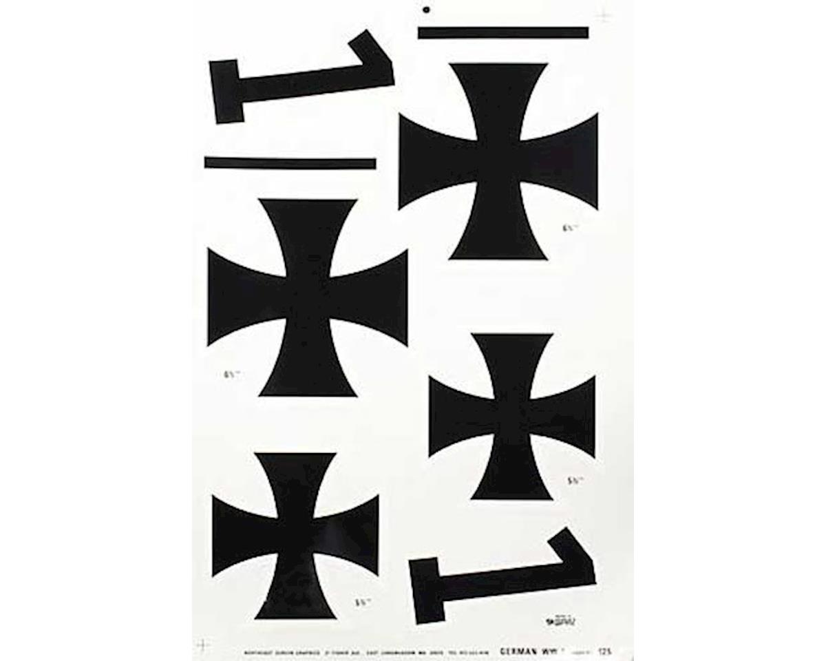 Major Decals 125 Pressure Decal German WWI Iron Crosses 5-1/2&6-1/2""