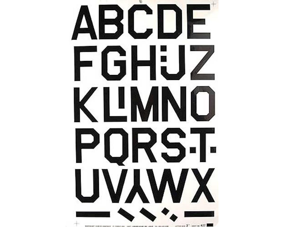 427PB Pressure Decal Alphabet Black 3""