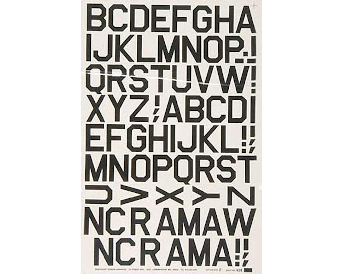 428PB Pressure Decal Alphabet Black 2""