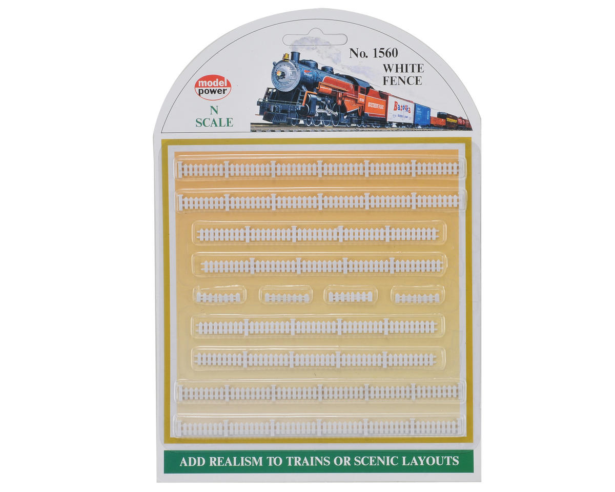 Model Power N-Scale White Picket Fences (12)