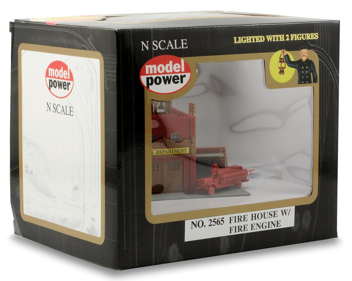 "Model Power N-Scale Built-Up ""Fire House"" w/Fire Engine & Figures (Lighted)"