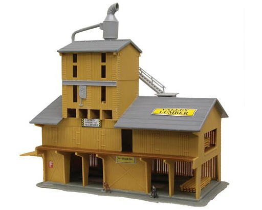 "Model Power N-Scale Built-Up ""Lumber Yard"" w/Figures (Lighted)"