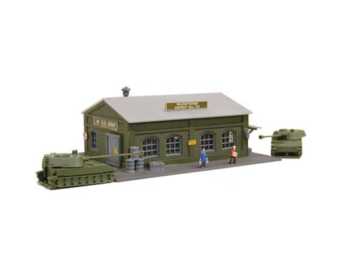 N B/U Army Munition Depot, Lighted w/Figures by Model Power