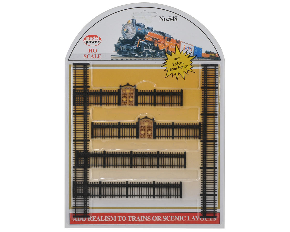 Model Power HO-Scale Black Iron Fences (6)