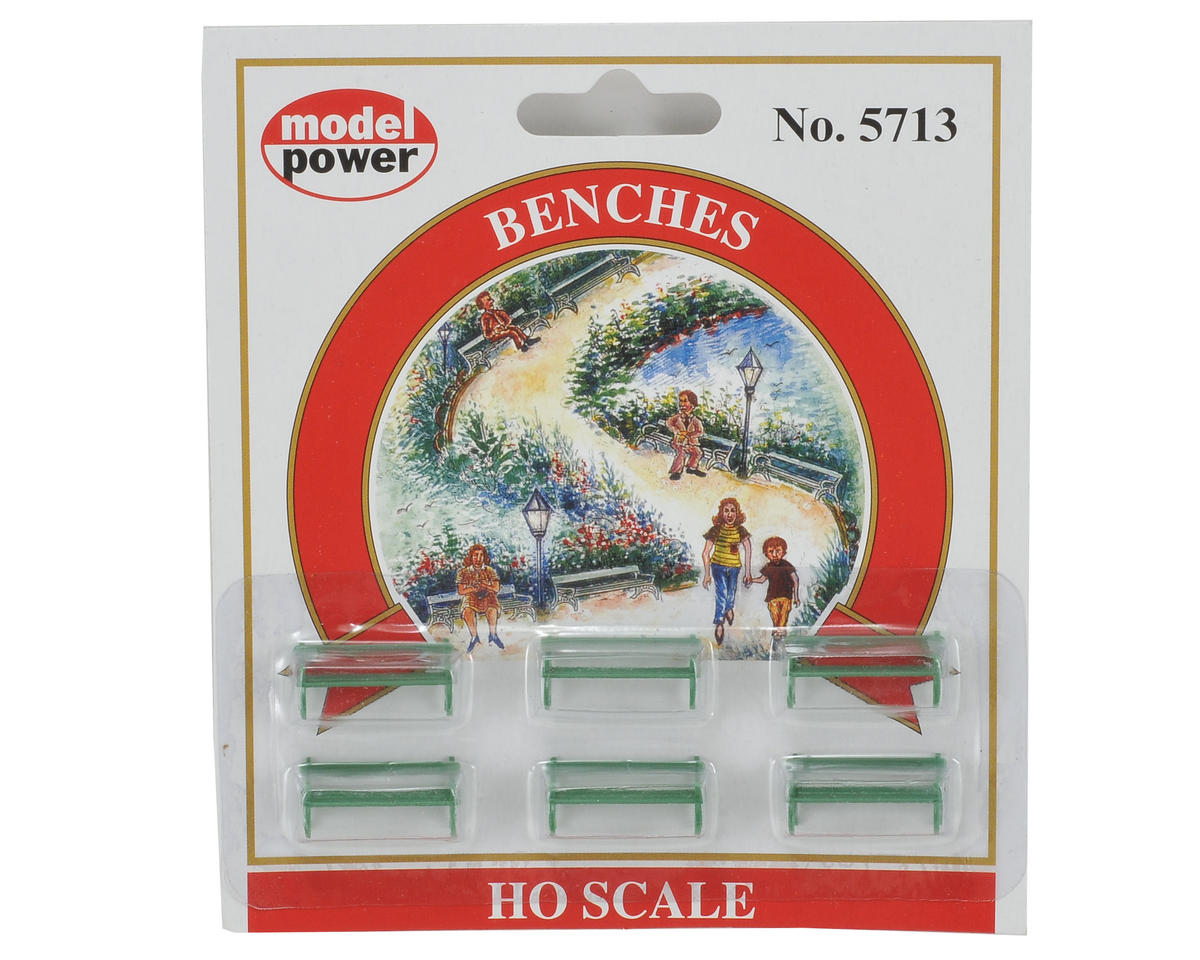 Model Power HO-Scale Park Benches (6)