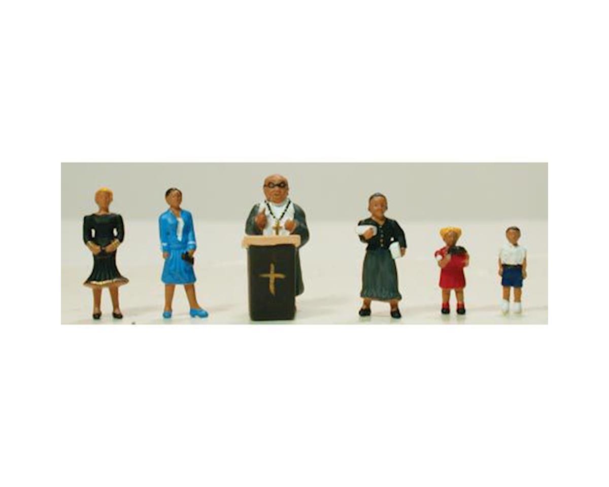 Model Power HO Pastor w/Congregation & Pulpit (7)