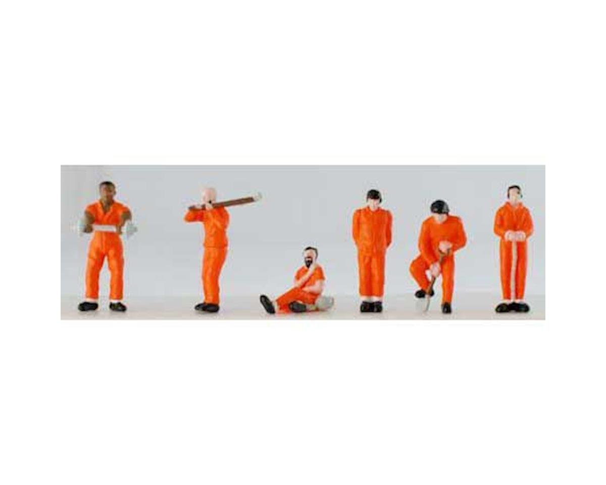 Model Power HO Prisoners in Orange Uniforms w/Tools (6) (Paint