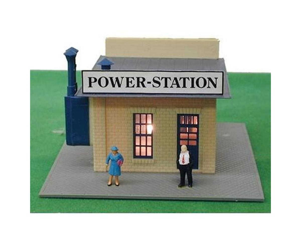 Model Power HO B/U Power Station, Lighted w/Figures