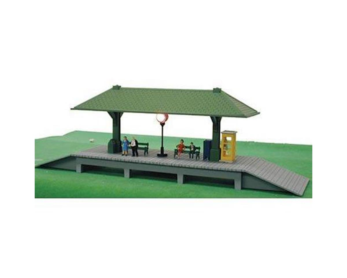 Model Power HO B/U Station Platform, Lighted w/Figures