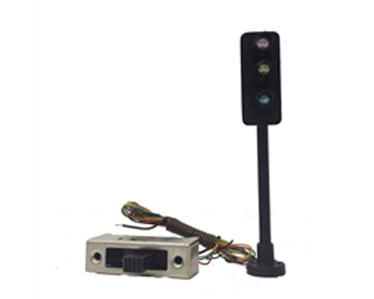 HO Traffic Light, 3-Way w/Switch by Model Power