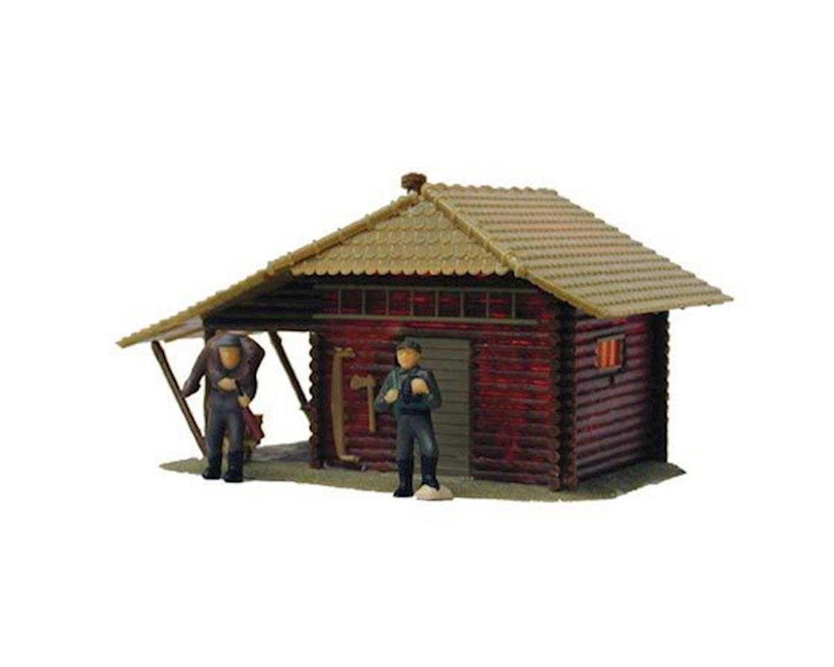 Model Power HO B/U Hunters Log Cabin, Lighted w/Figures