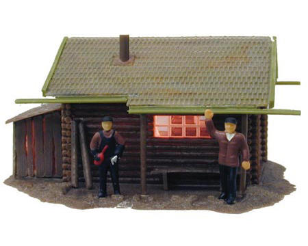 "Model Power HO-Scale Built-Up ""Fishermens Cabin"" w/Figures (Lighted)"