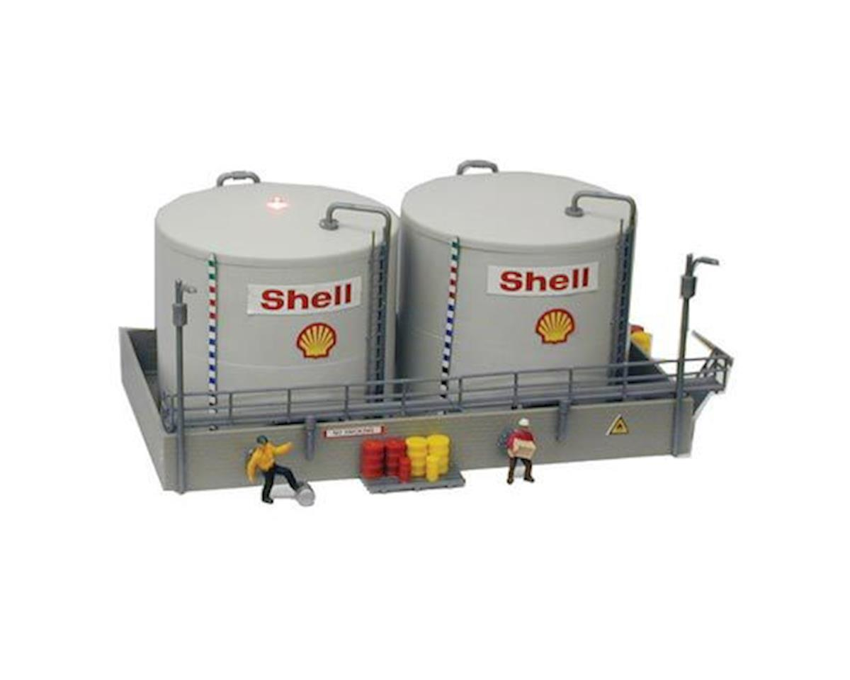 Model Power HO B/U Twin Shell Oil Tanks, Lighted w/Figures