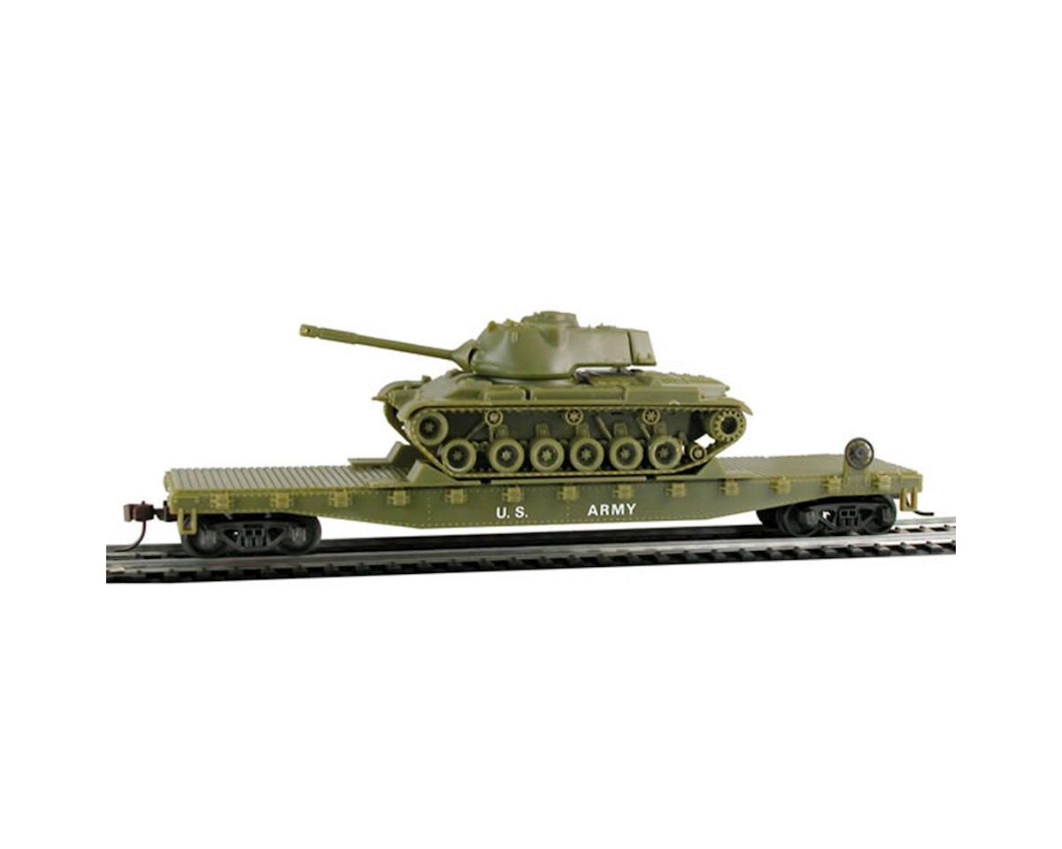 Model Power HO Flat w/Patton Tank, US Army