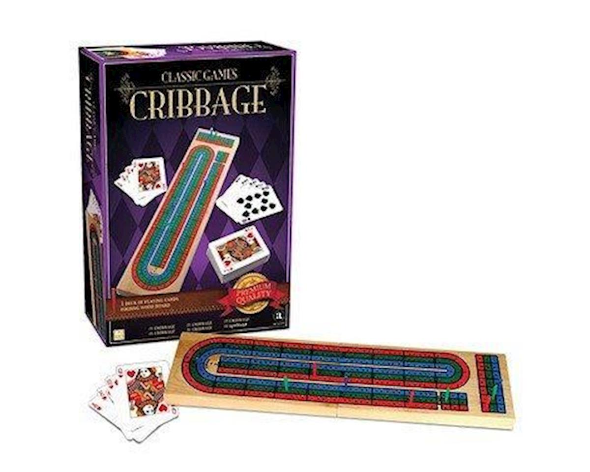 Classic Games-Wood Cribbage W/Cards