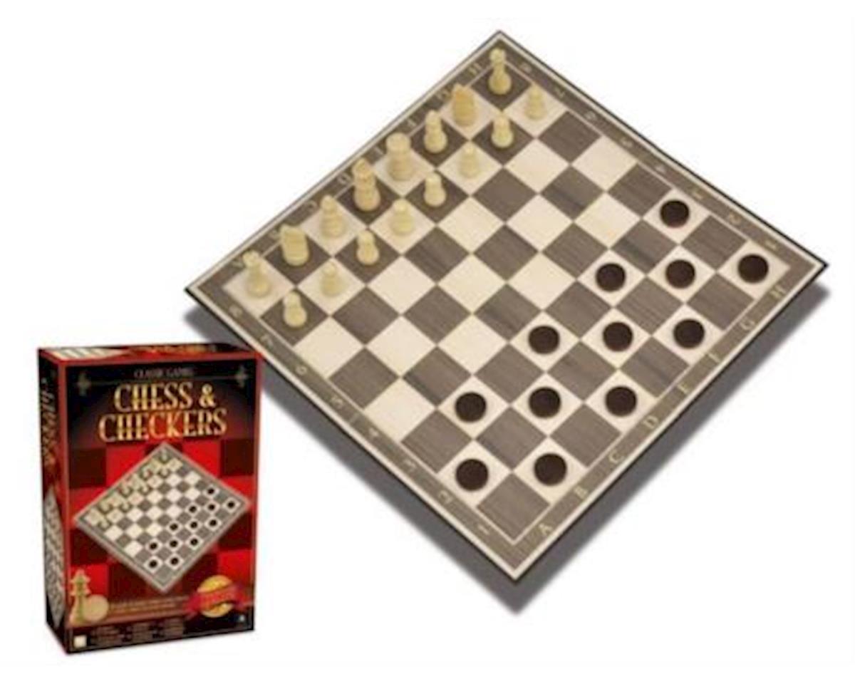 Merchant Ambassadors Classic Games Wood Chess & Checkers