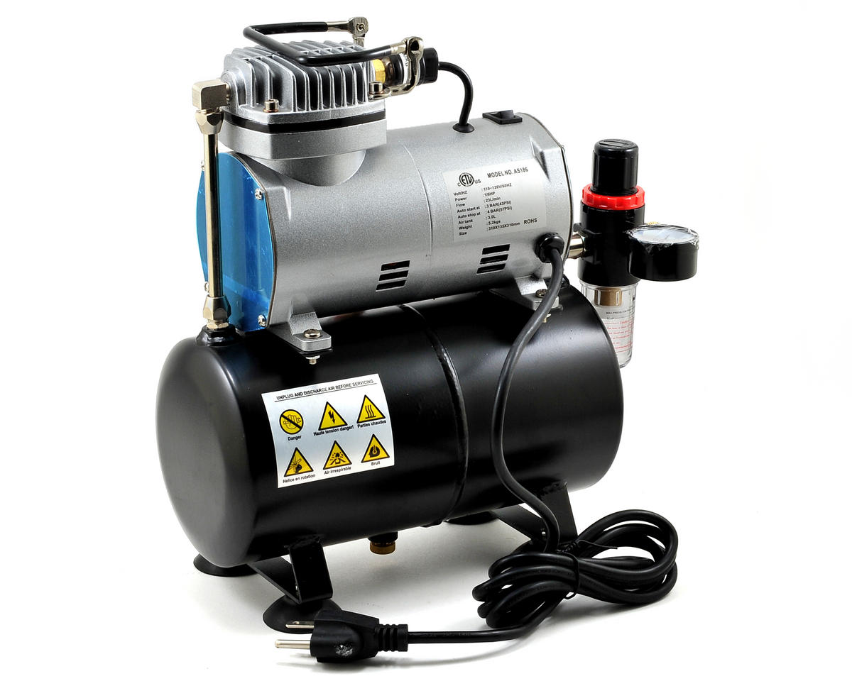 Model Expo 1/6 HP Medium Duty Mini Air Compressor w/Double Action Air Brush