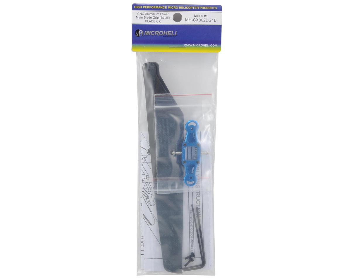 MicroHeli CNC Lower Main Blade Grip Set w/Blades (Blue) (CX)