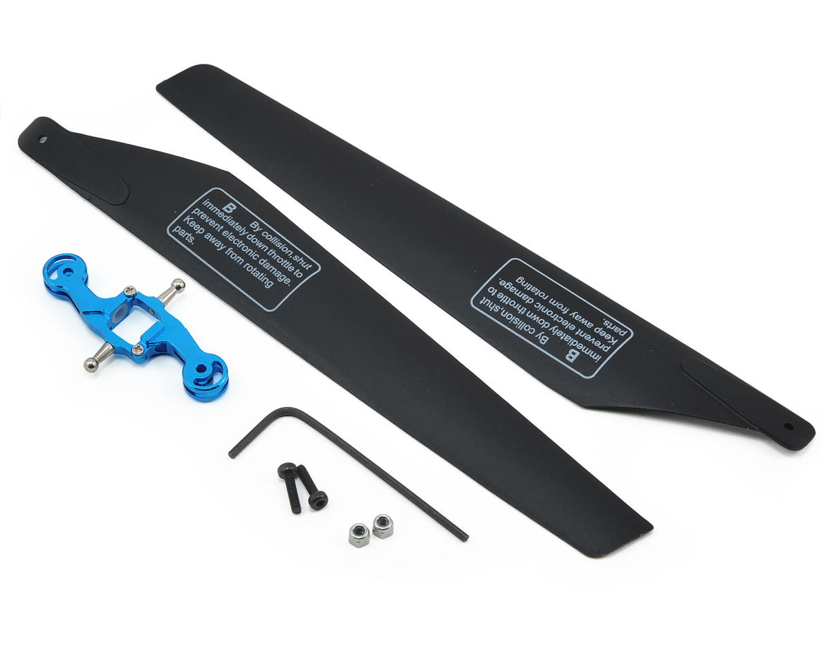 MicroHeli CNC Lower Main Blade CX3 Grip Set w/Blades (Blue) (CX2/CX3)