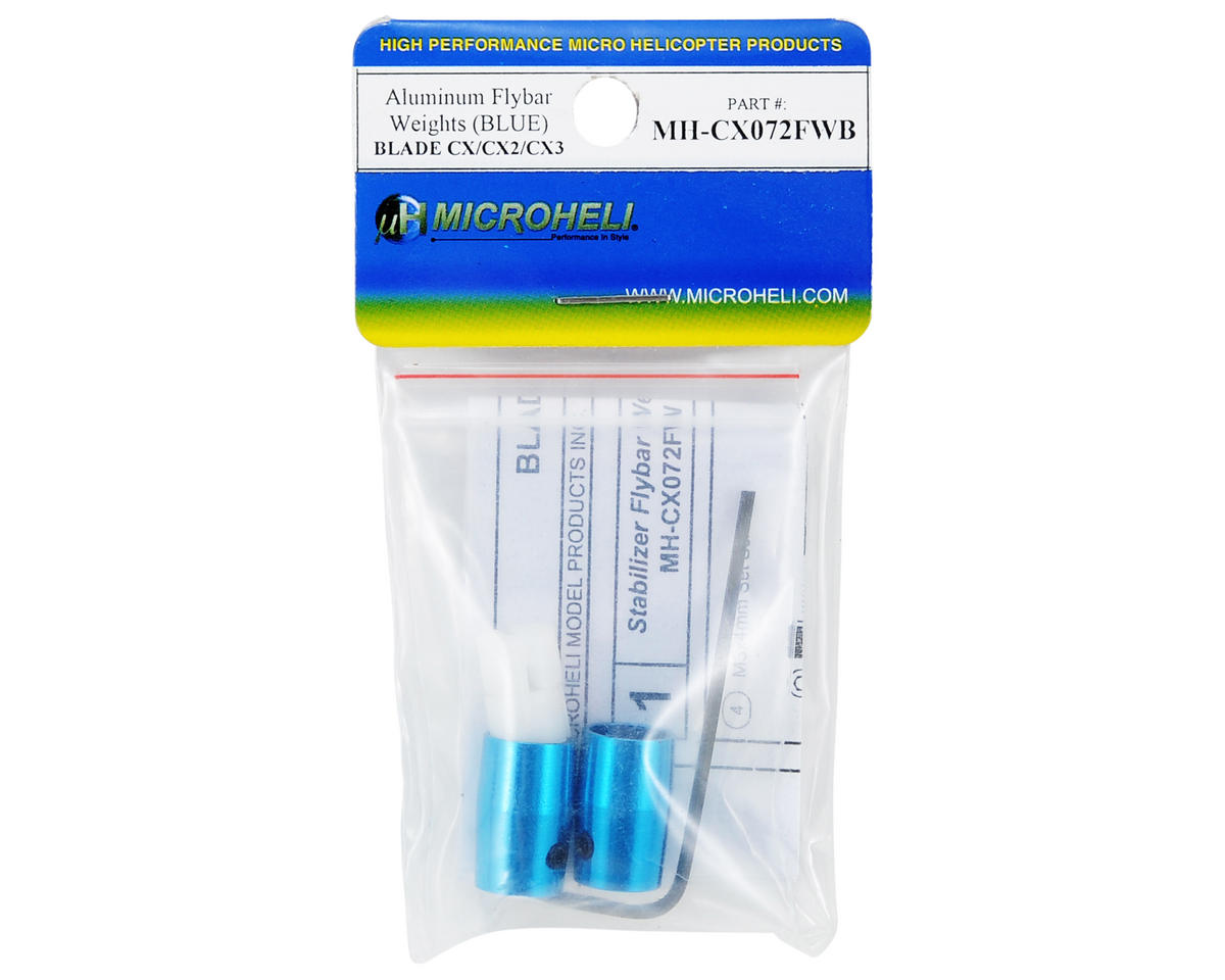 MicroHeli Aluminum Flybar Weight Set (Blue)