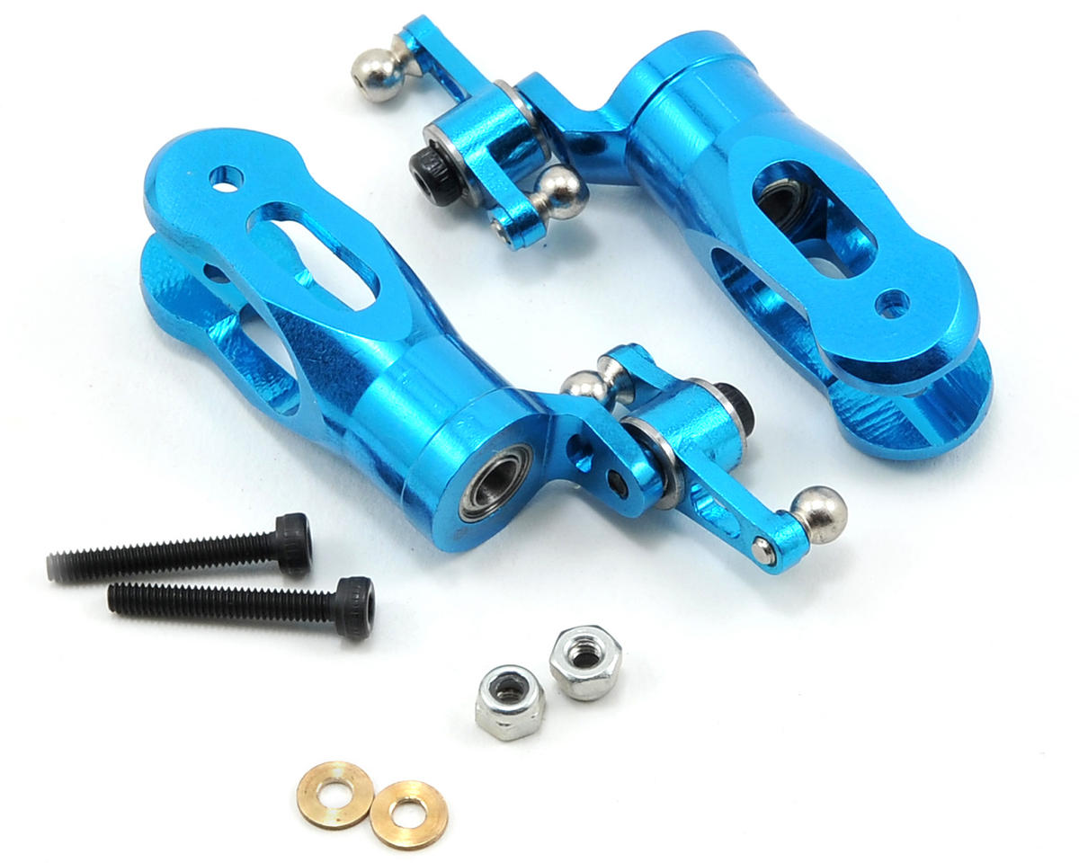 MicroHeli CNC Aluminum Blade Grip & Mixing Arm Set (Blue)