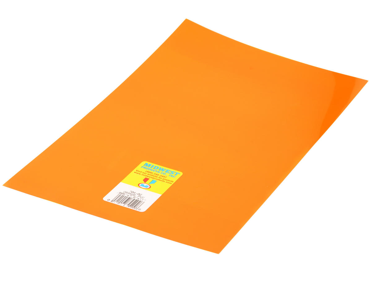 "Midwest Clear, Orange PVC .005 x 7.6 x 11"" (4)"