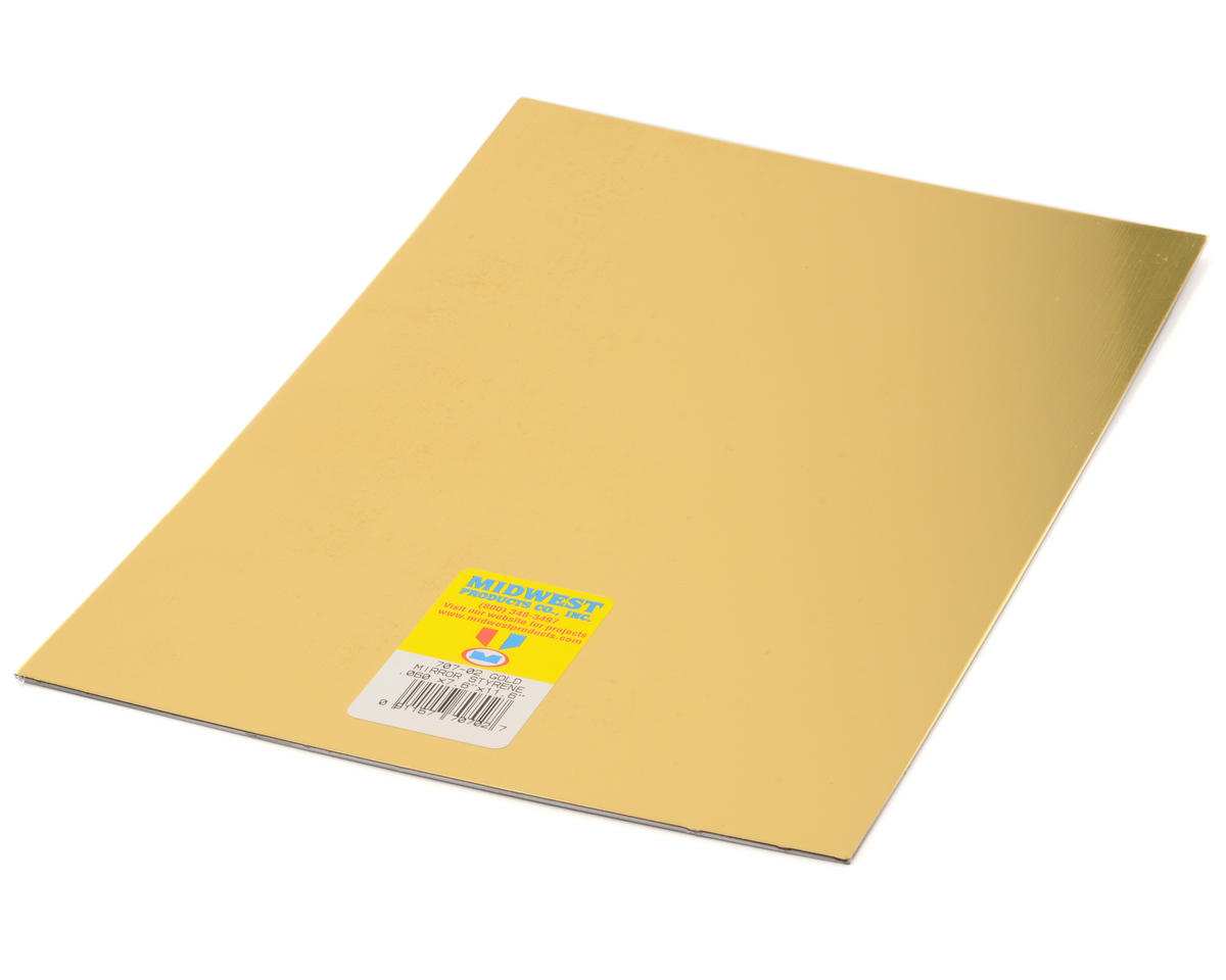 "Midwest .080 x 7.6 x 11"" Styrene Sheet (Mirror Gold)"