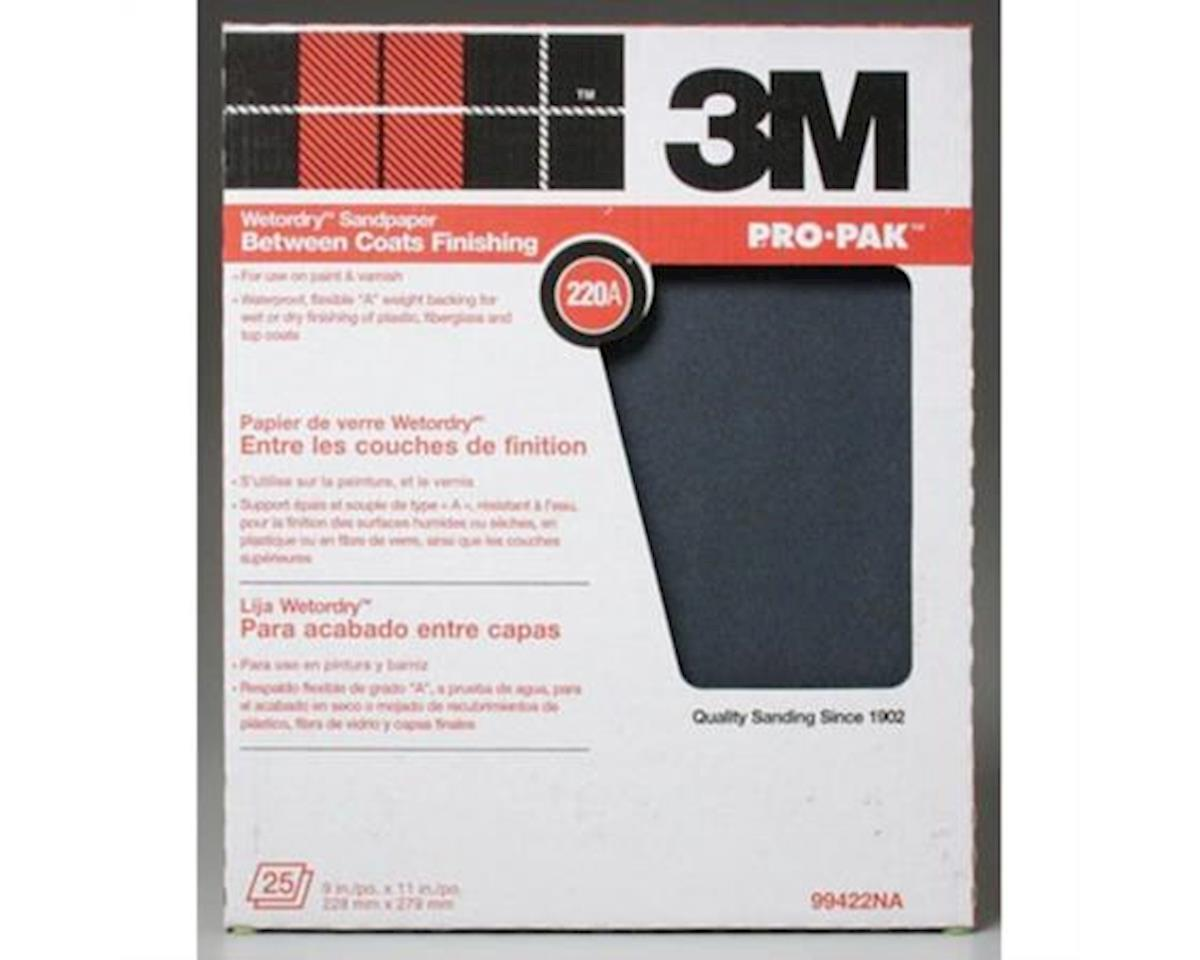 3M  Wet Or Dry Sandpaper 9X11 220A 25Pc