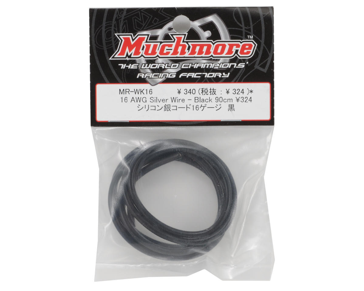 Muchmore Racing 16awg Silver Wire (Black) (90cm)