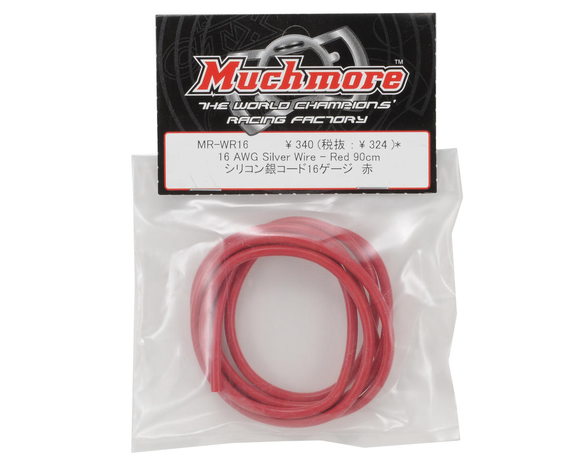 Muchmore Racing 16awg Silver Wire Set (Red) (90cm)