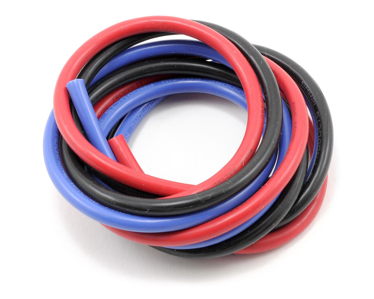 Muchmore Racing 12awg Silver Wire Set (Red/Black/Blue) (180cm)