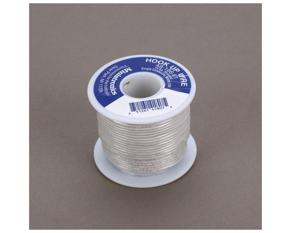 Miniatronics 100' Stranded Wire 18 Gauge, White