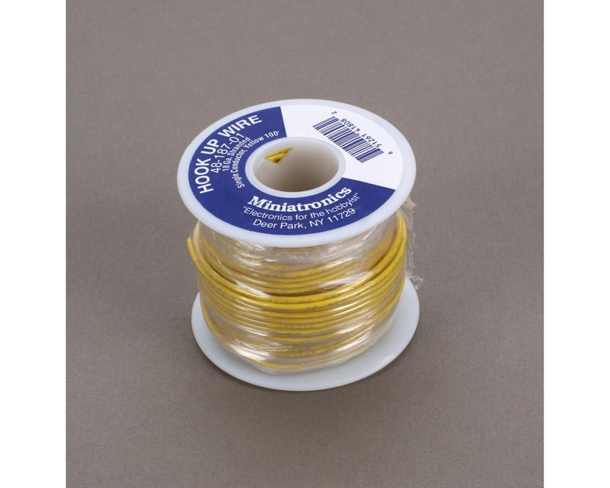 Miniatronics 100' Stranded Wire 18 Gauge, Yellow