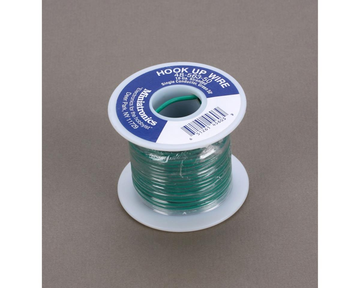 Miniatronics 50' Stranded Wire 16 Gauge, Green