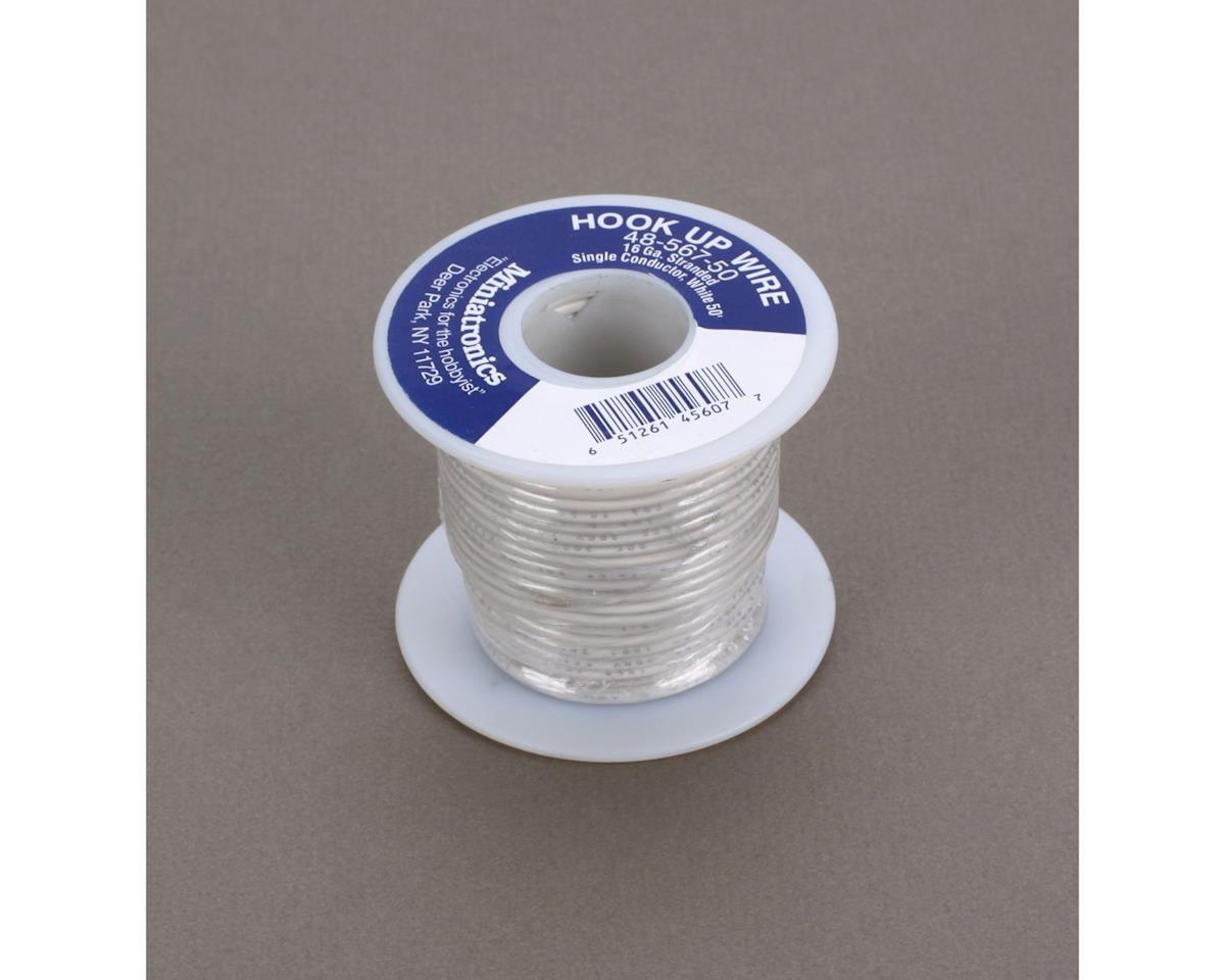 Miniatronics 50' Stranded Wire 16 Gauge, White