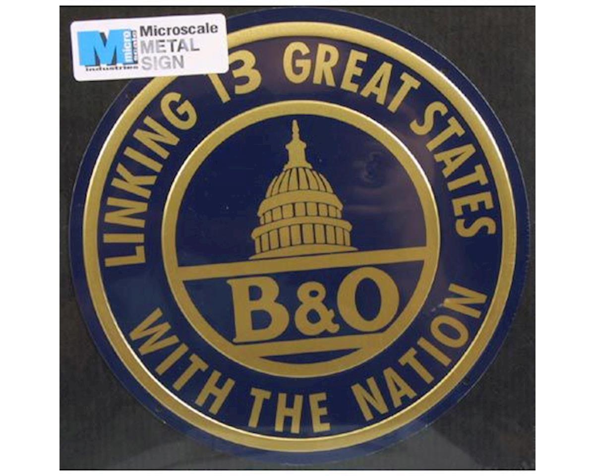 """Microscale Industries 8"""" Die-Cut Metal Sign, B&O"""