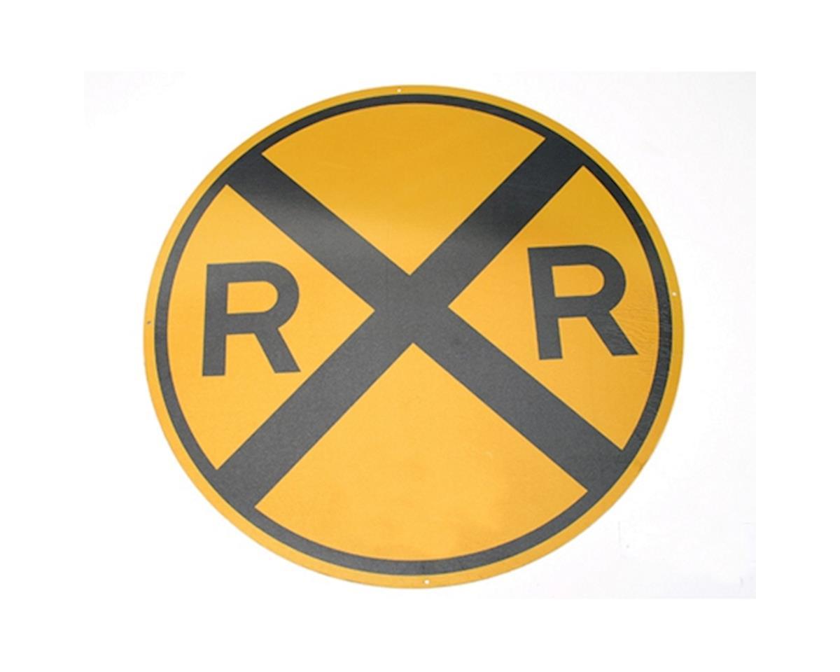 """Microscale Industries 17"""" Die-Cut Metal Sign, Round RR Crossing"""