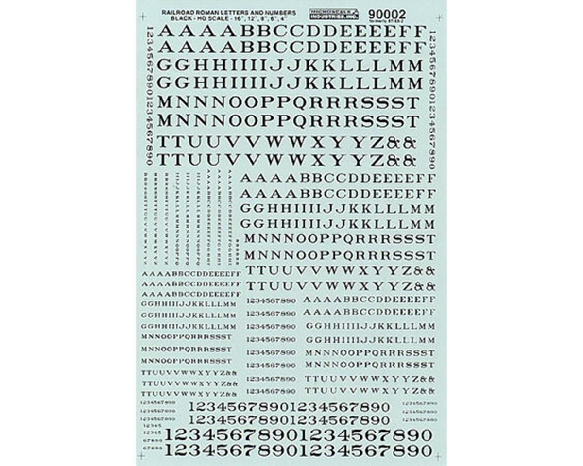 Microscale Industries HO Letters & Numbers, Roman/Black