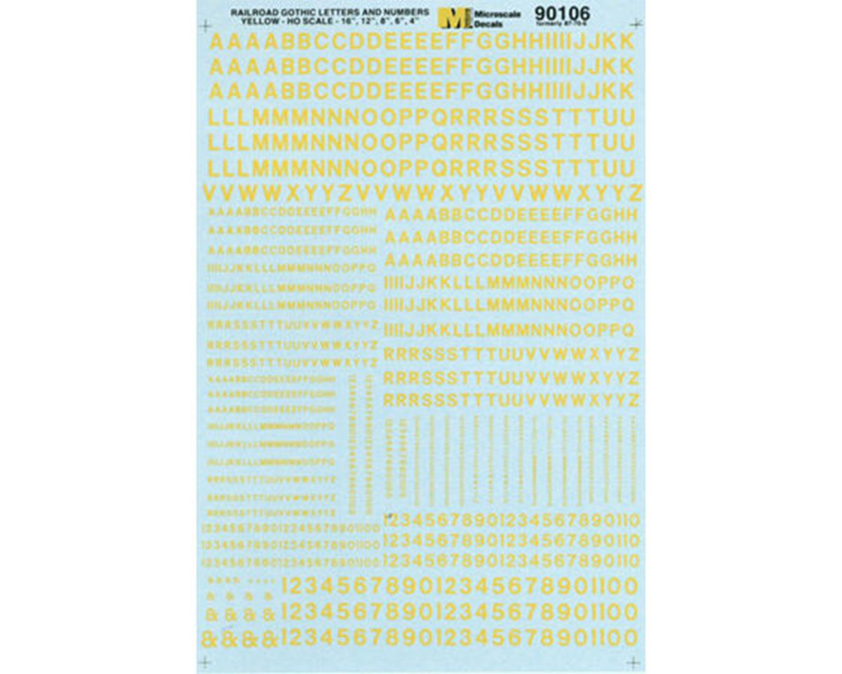 Microscale Industries HO Letters & Numbers, Gothic/Yellow