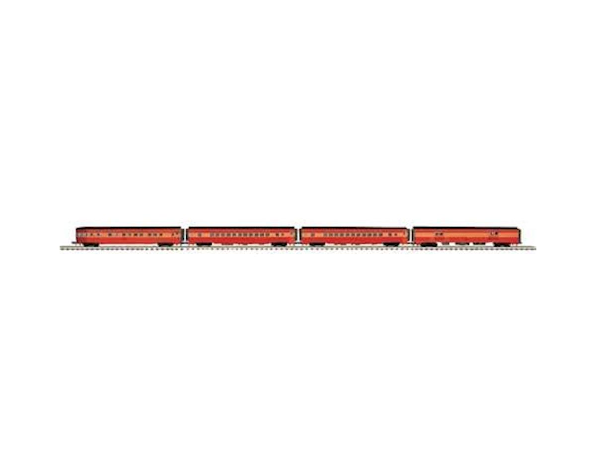 MTH Trains O 70' Streamline Ribbed Passenger, SP Lines (4)