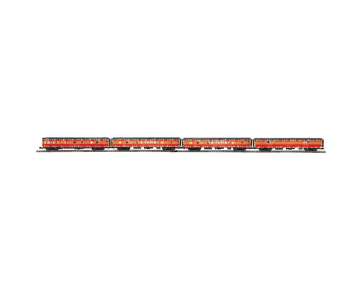 O 70' Streamline Smooth Passenger w/LED, SP (4) by MTH Trains