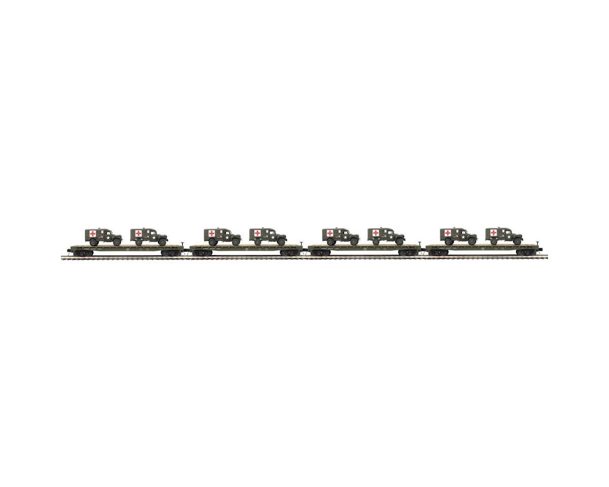 MTH Trains O Flat w/Dodge WC54 Ambulances,US Army #609155 (4)