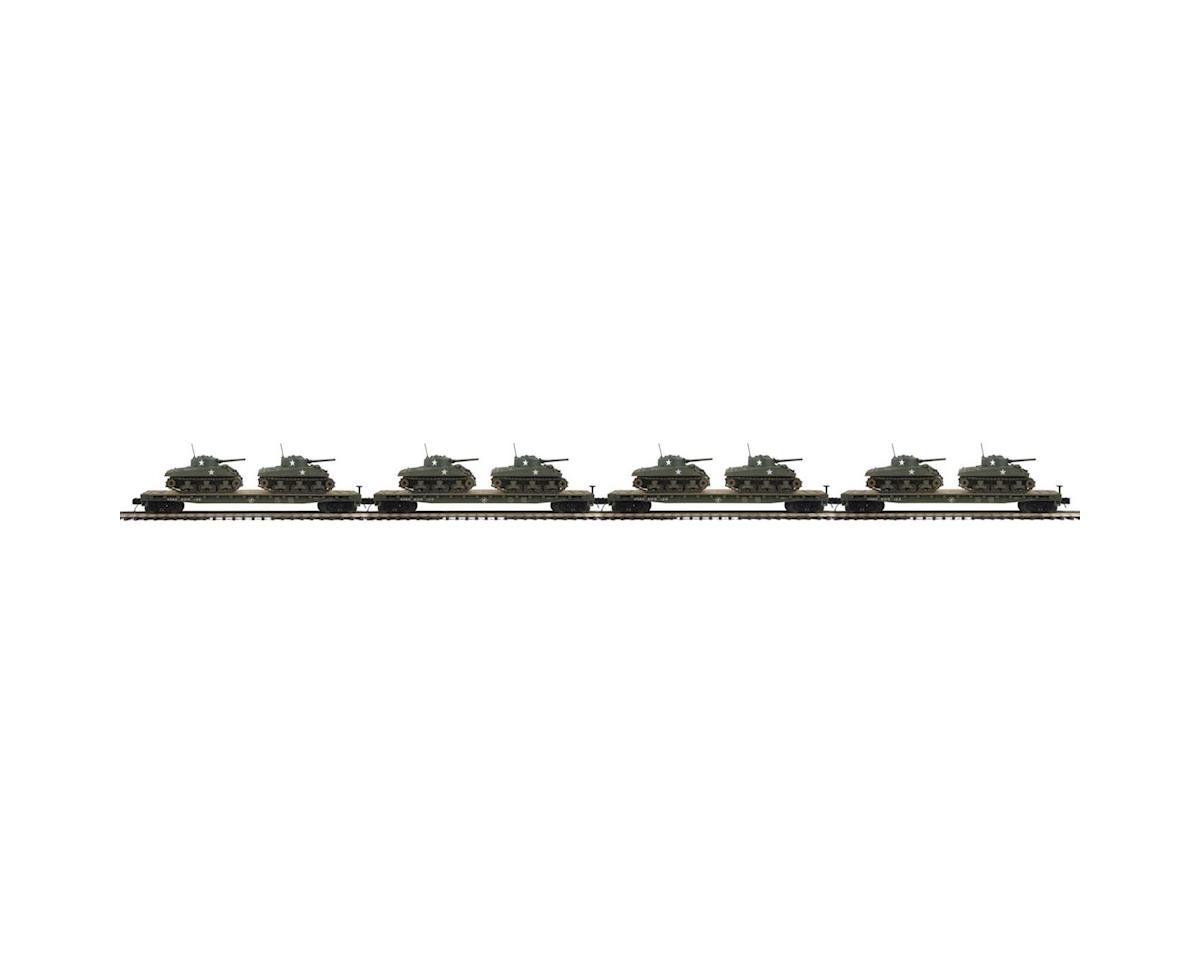 MTH Trains O Flat w/2 Sherman Tanks, US Army #609122 (4)